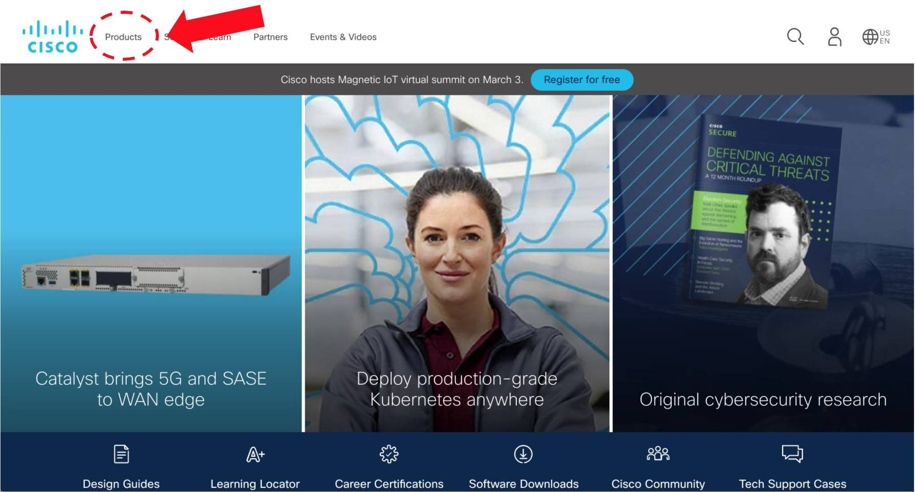an example of the navigation menu on Cisco's website homepage