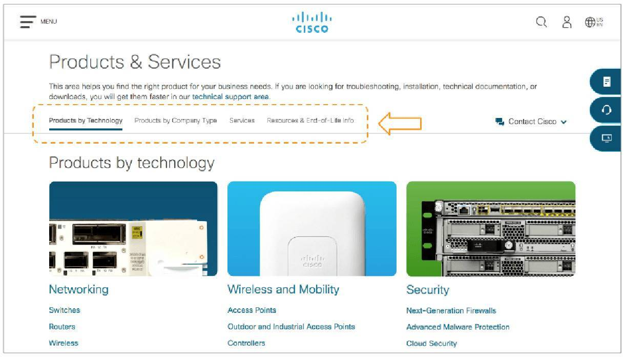 example of on-page navigation bars on Cisco website