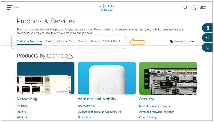 Example of on-page navigation bars on Cisco website subpages