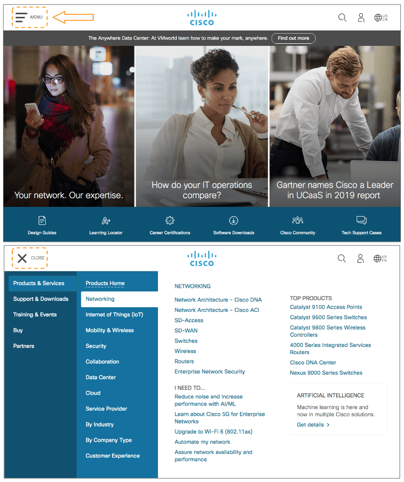 An example of the menu button on Cisco's website homepage displaying site navigation and content