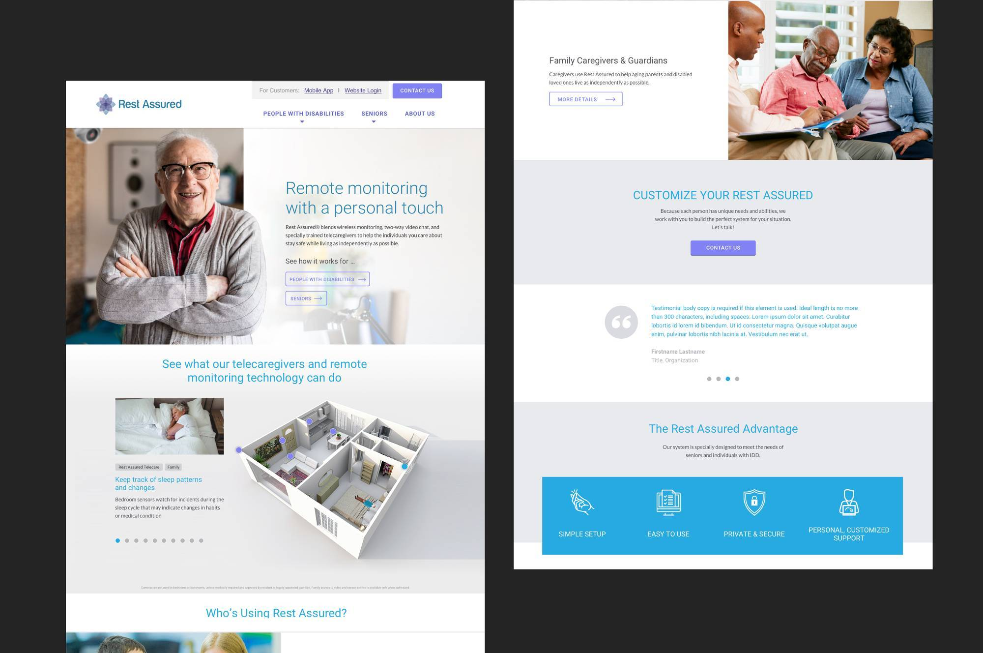 Rest Assured Remote Monitoring and Telehealth website pages