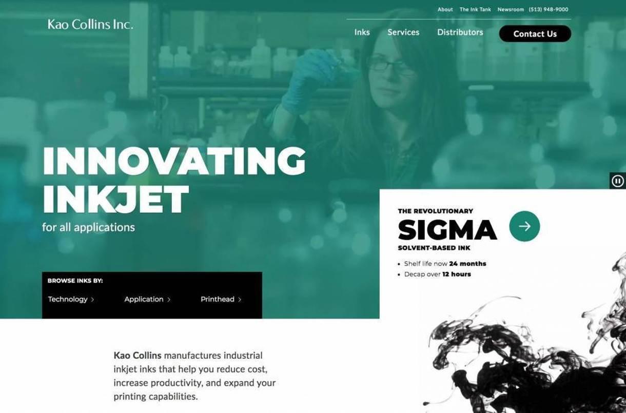 screenshot of the Kao Collins b2b website home page