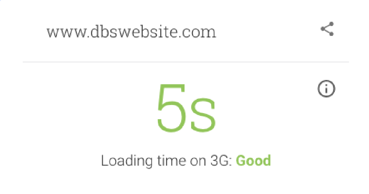 DBS website mobile site speed test results