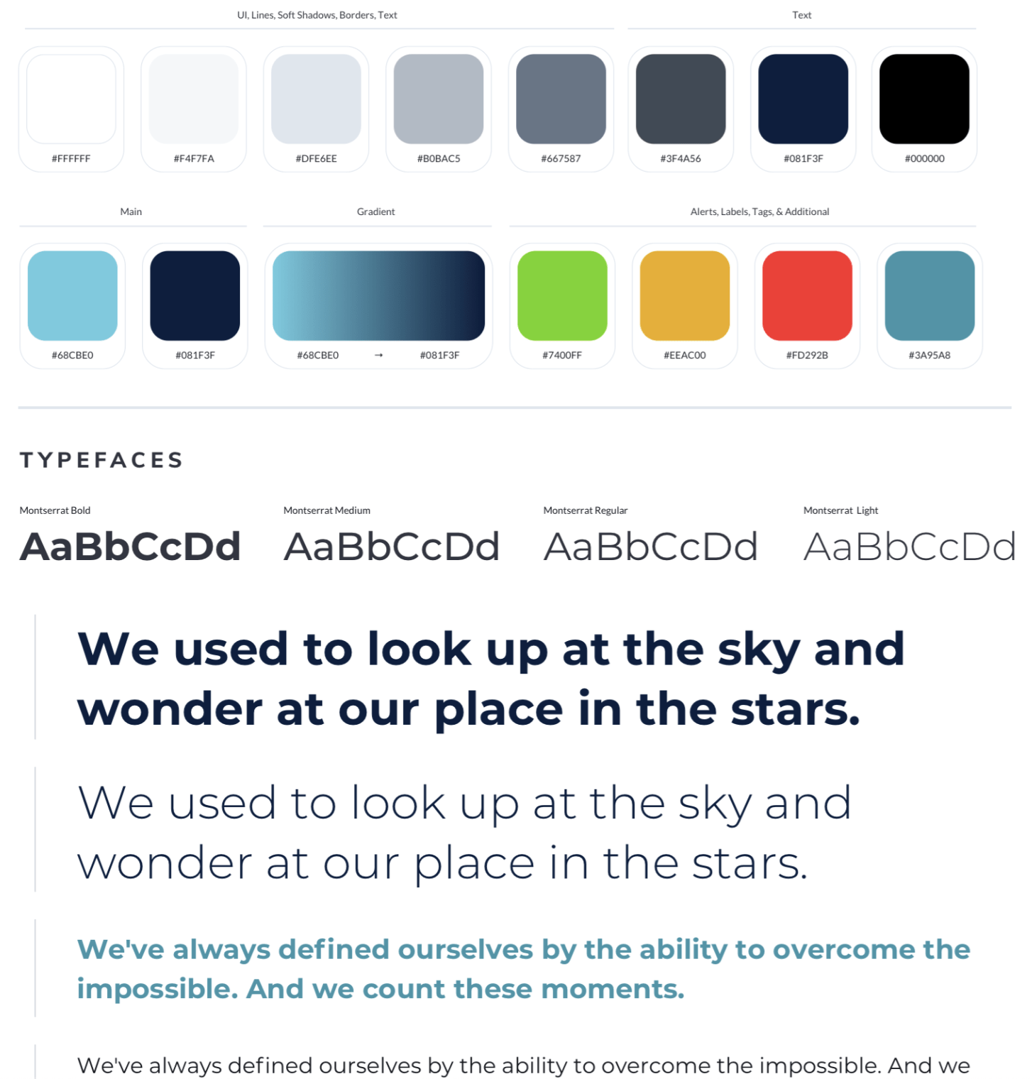 Chart of Digital Styles typefaces text and colors for the Springstone app