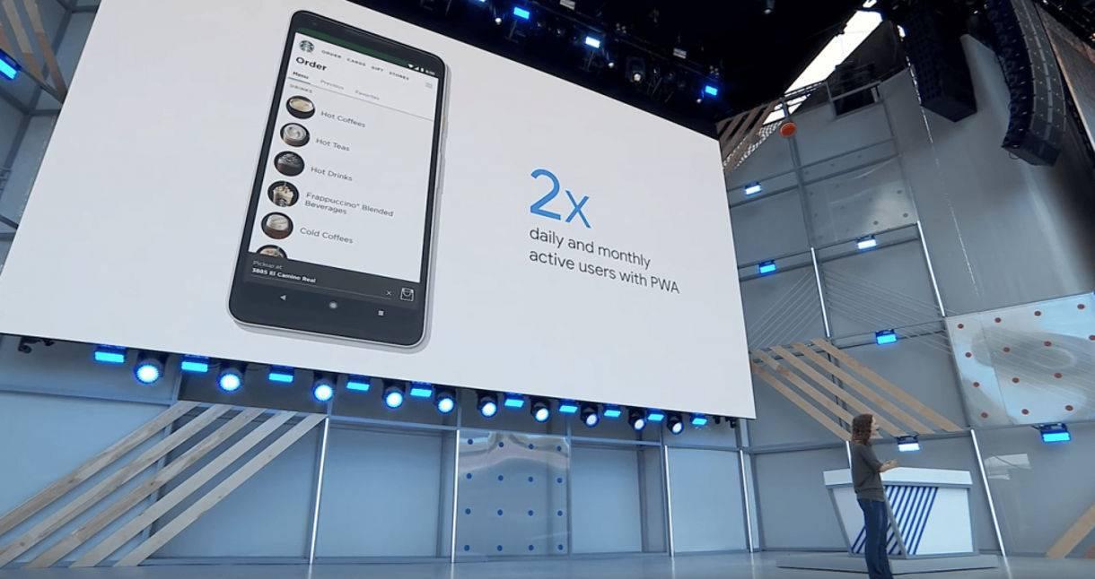 programmer on stage at Google IO 2018 speaking about the Starbucks Progressive Web App
