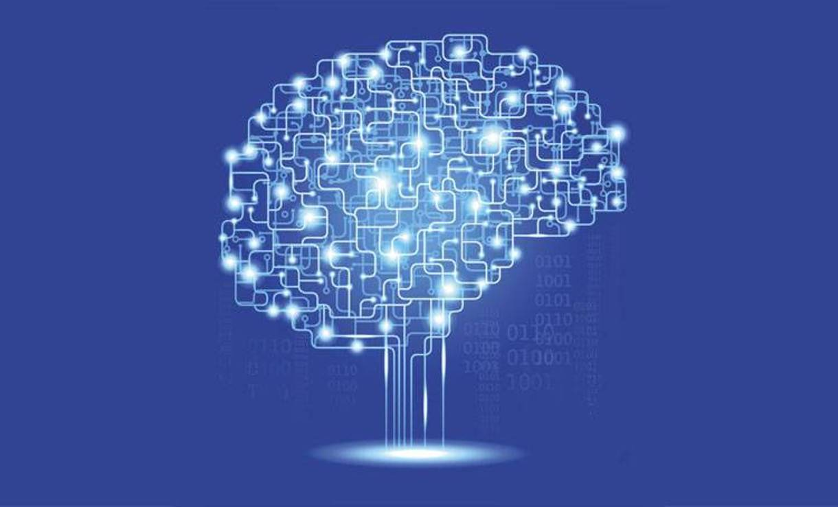 graphical illustration of a brain as bright blue digital lines