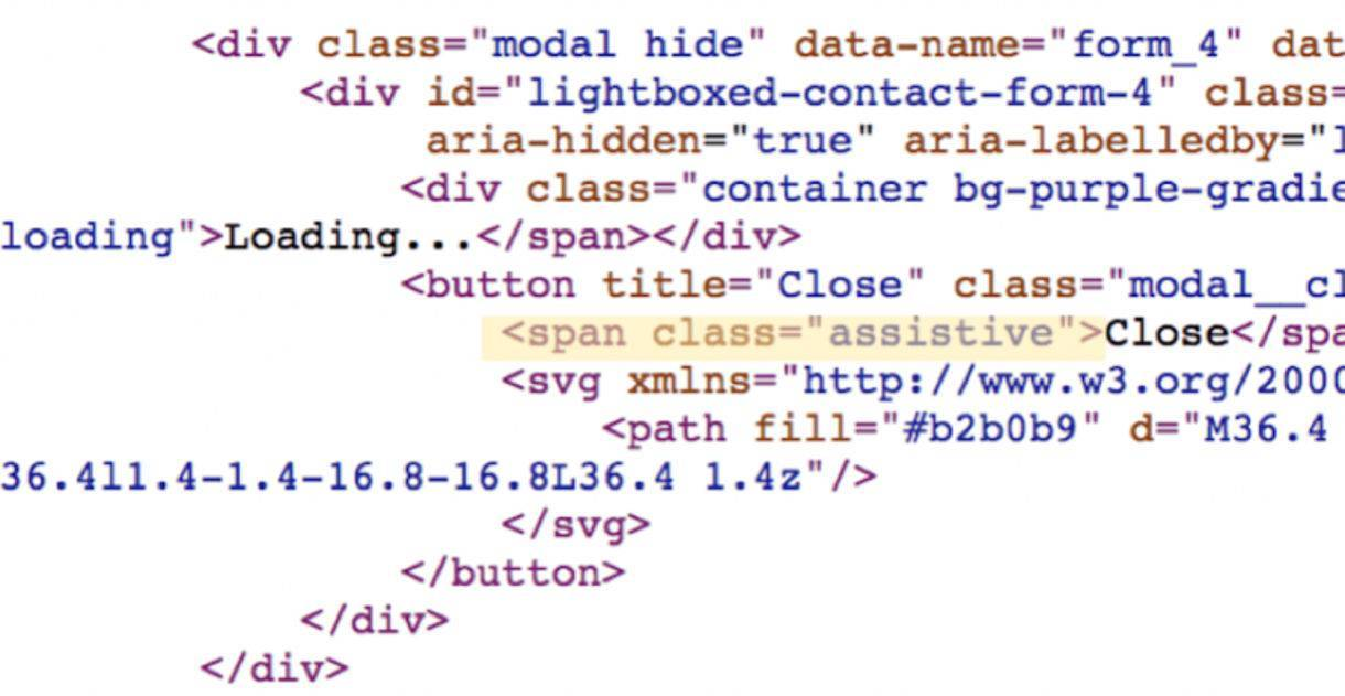 """HTML code with """"assistive"""" label applied to a Close button"""
