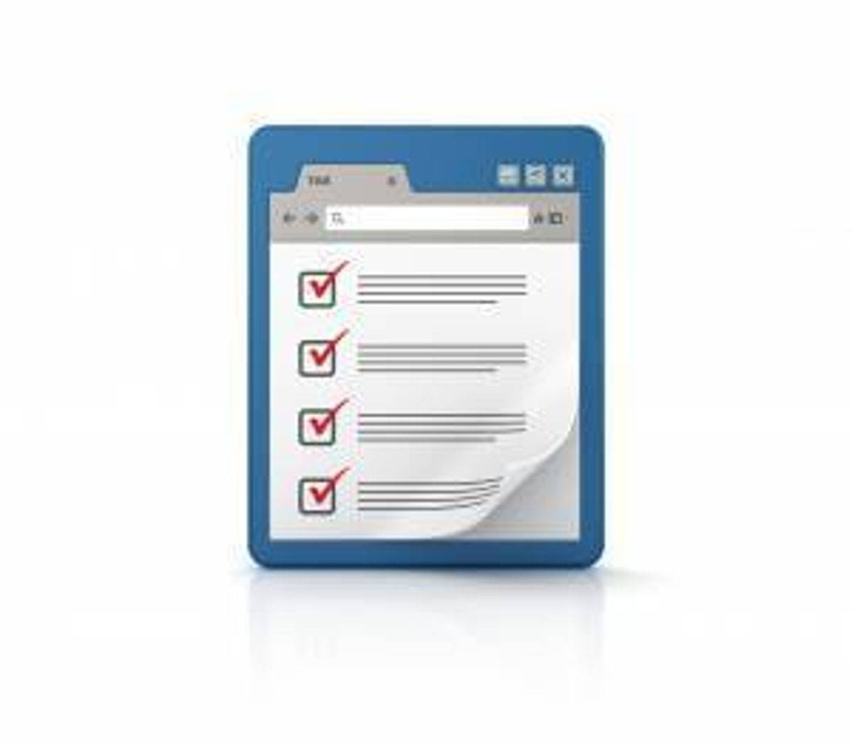 graphic illustration of a web browser with a checklist