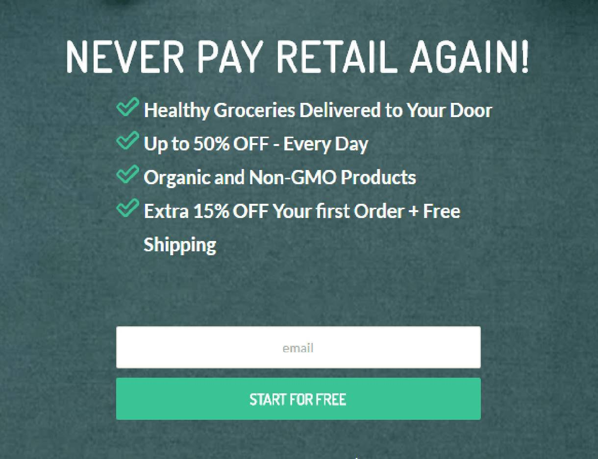 Call to Action example for email signup from Thrive Market