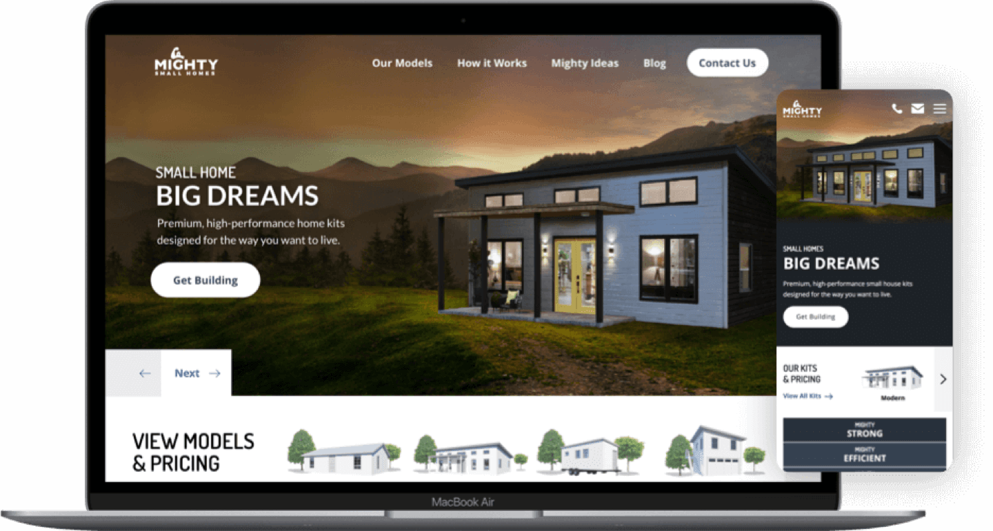 Mighty Small Homes website on a laptop