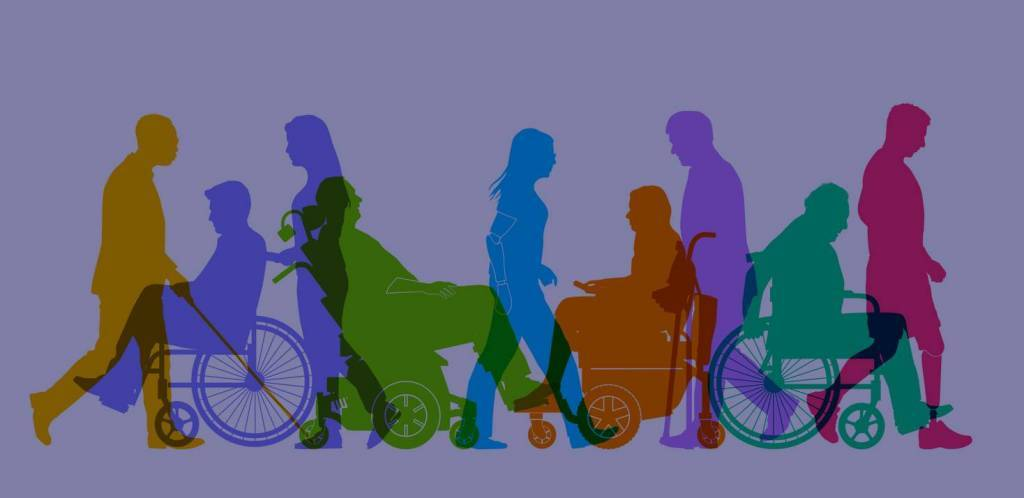 Silhouettes of large group of people representing a diverse range of Disabilities in society