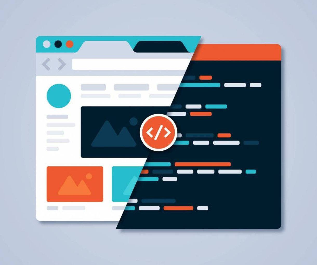 graphic representing websites code and web development