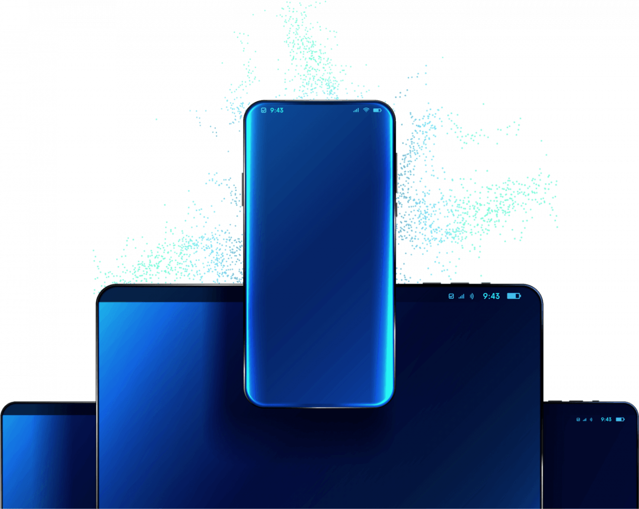 Illustrations of mobile and tablet devices.