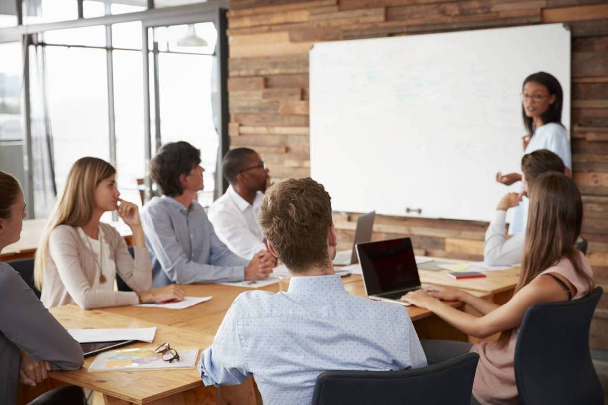 a photo of co-workers meeting for diversity training
