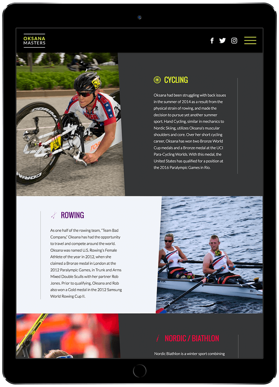 Screen shot from mobile site of Oksana Masters, paralympic athlete