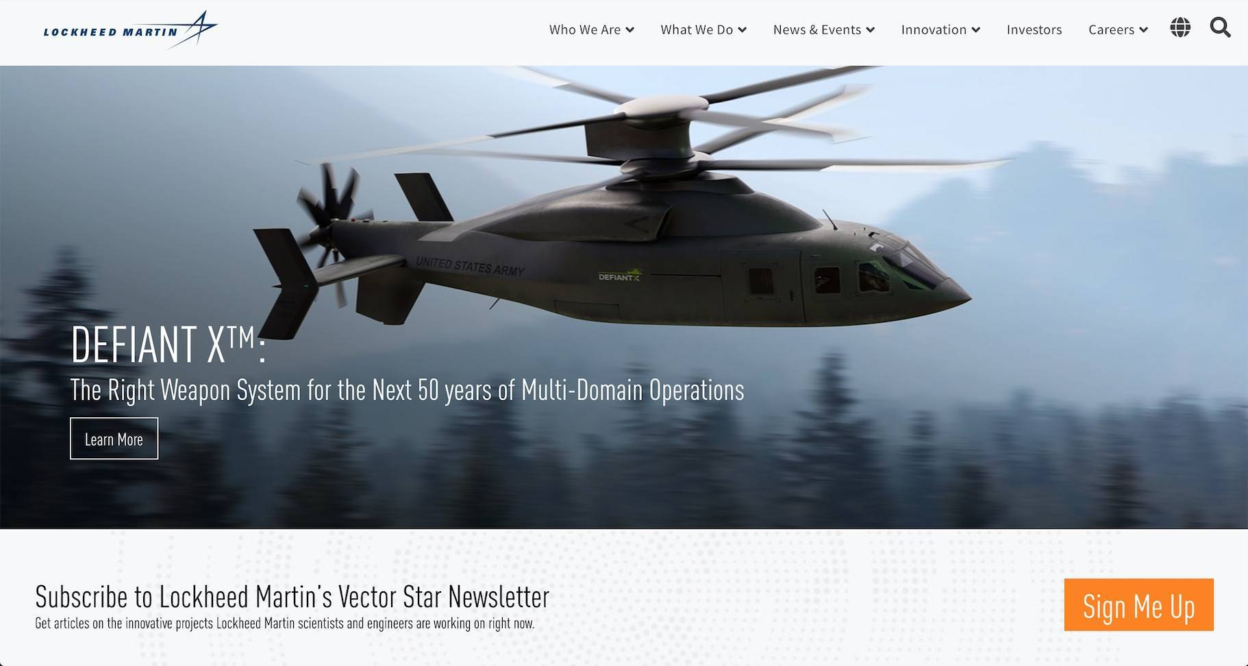 image of the Lockheed Martin manufacturing website homepage featuring high quality photo of helicopter