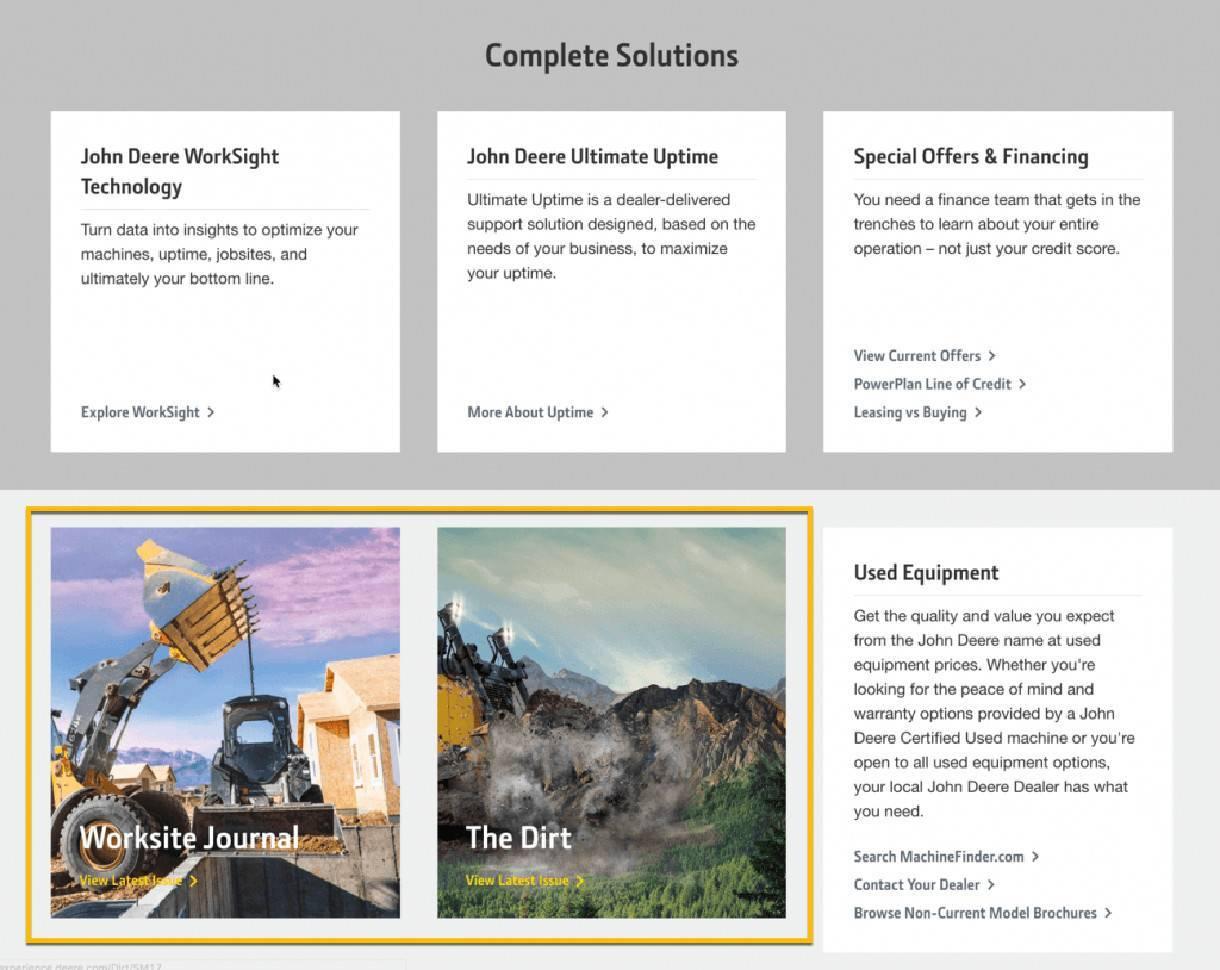 image of john deere website