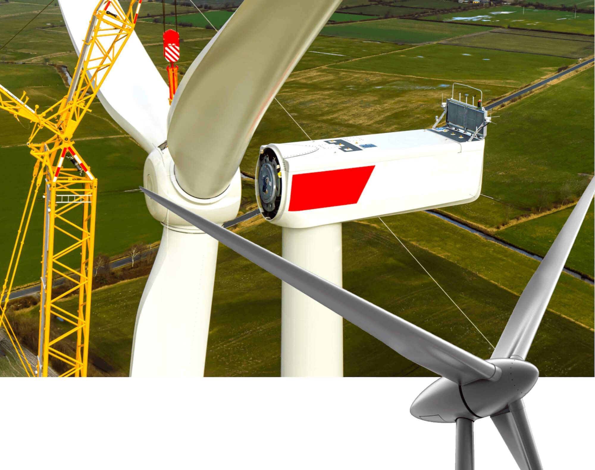 A large wind turbine fan