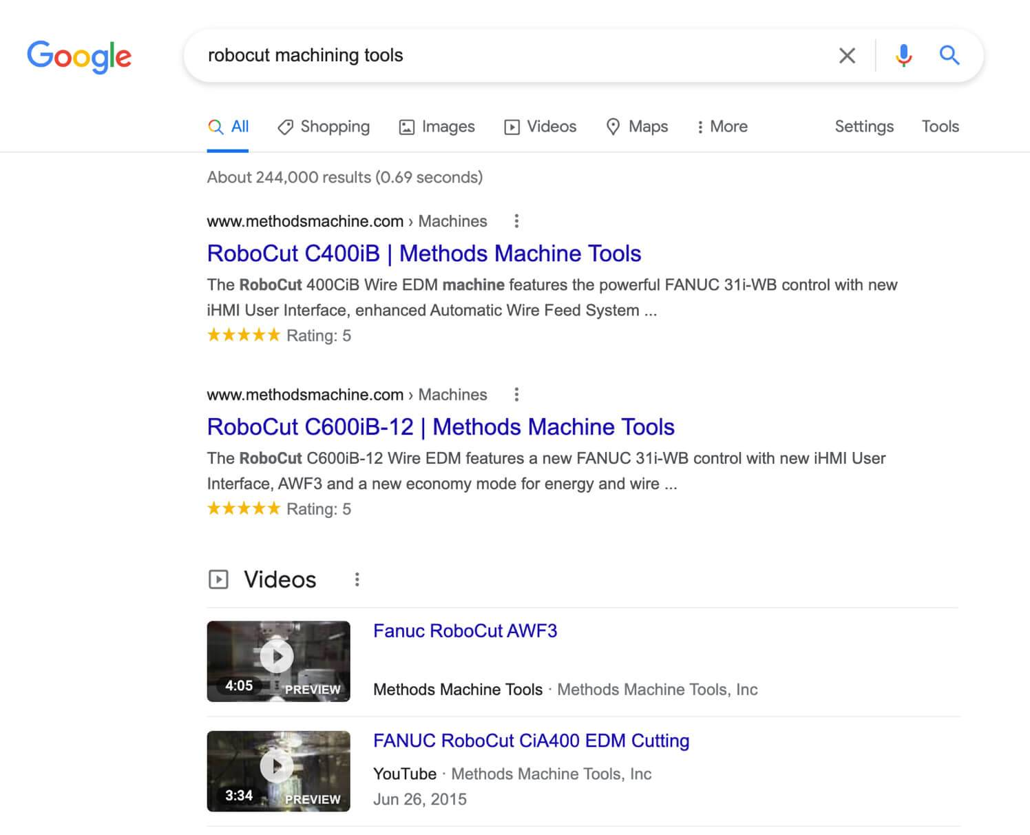 Google results for robocut machining tools