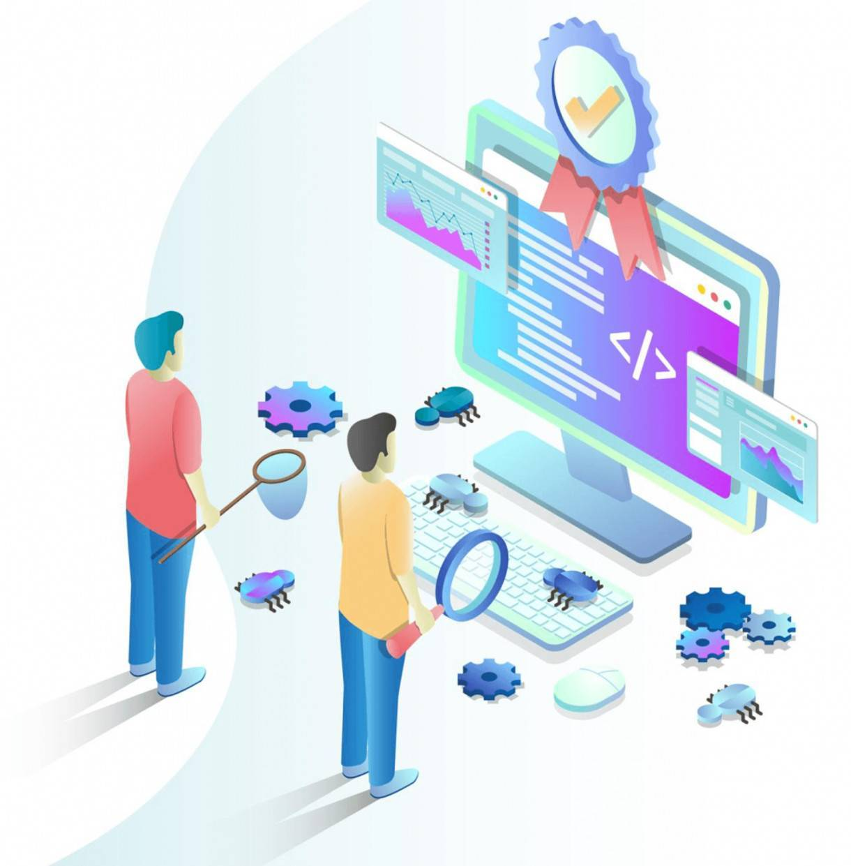 illustration of two people testing software