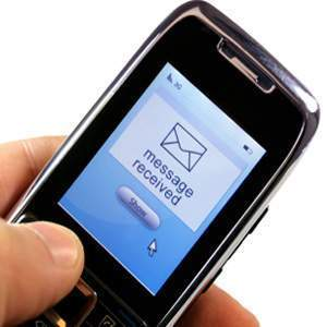 Graphic of a older cell phone showing message received