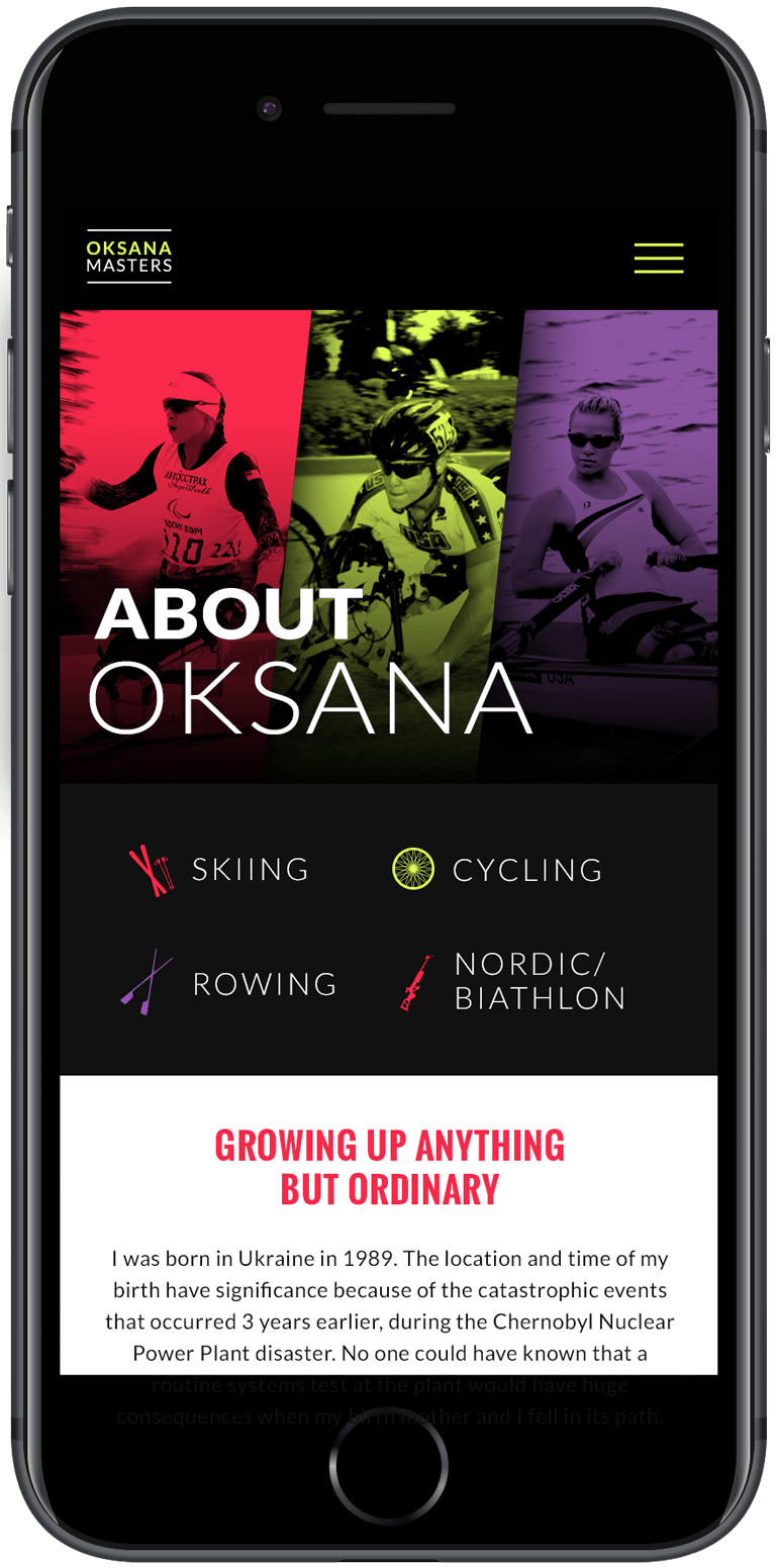 Screen shot from the about page of the mobile site of Oksana Masters, paralympic athlete