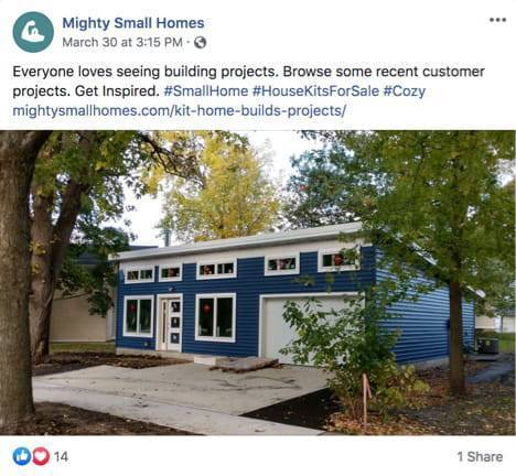 Mighty small homes social media post