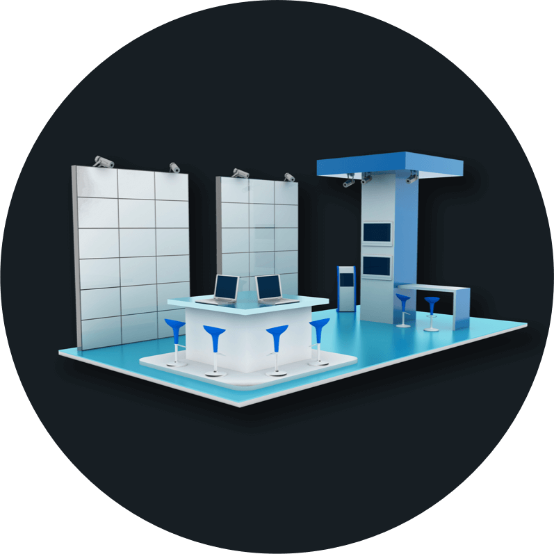 An illustration of a tradeshow booth design.