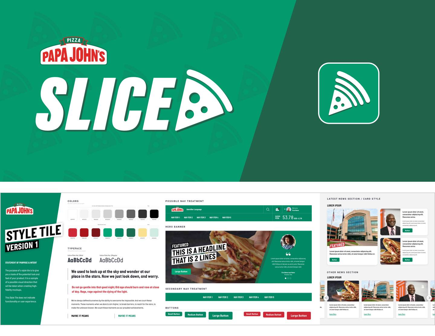 an example of design style tiles developed for the Papa Johns intranet project