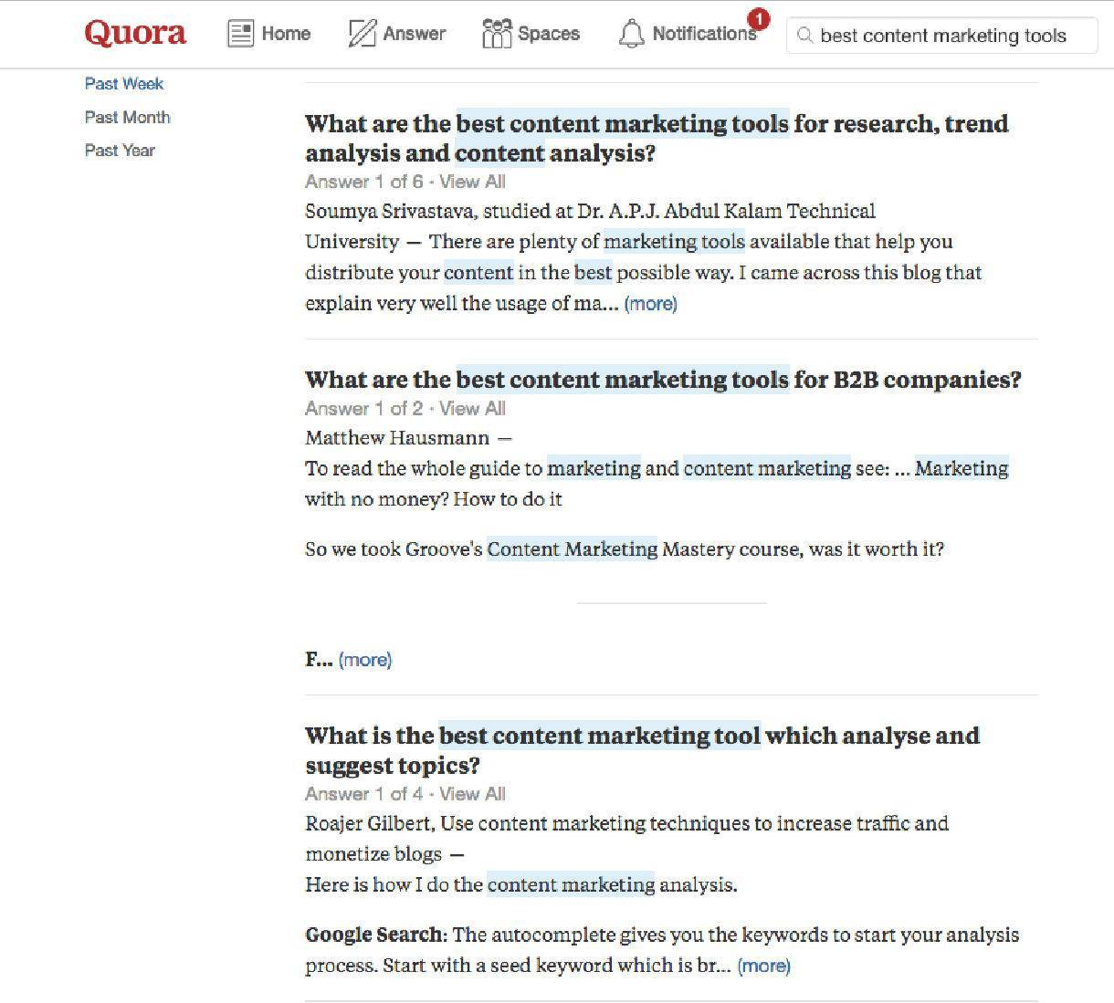 """Quora search results for """"best content marketing tools."""""""