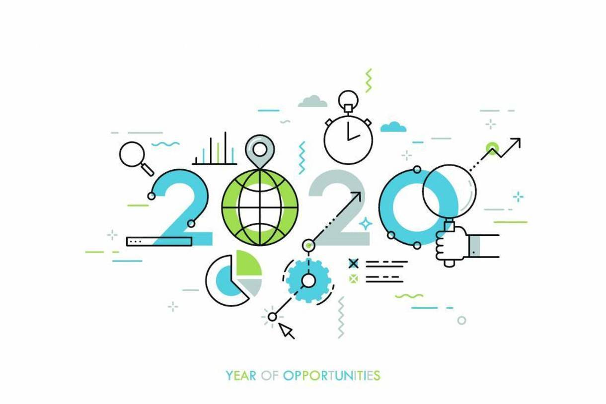 an illustration of 2020 with text year of opportunities