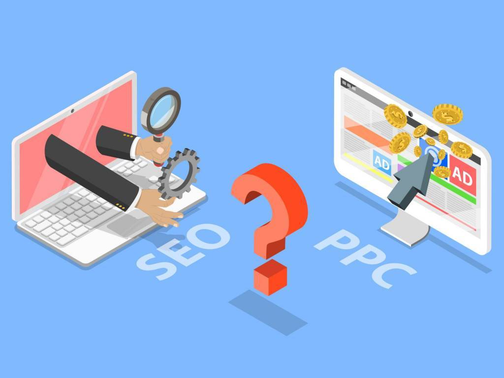 graphic portraying SEO marketing vs PPC pay per click