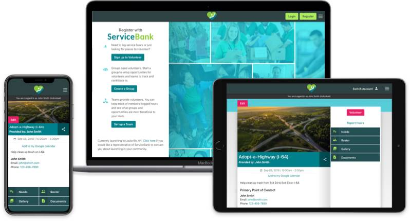 Views of the ServiceBank app.