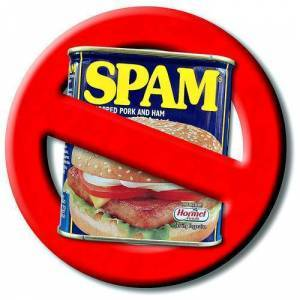Graphic of circle and slash over can of spam meaning Just Say No To Spam