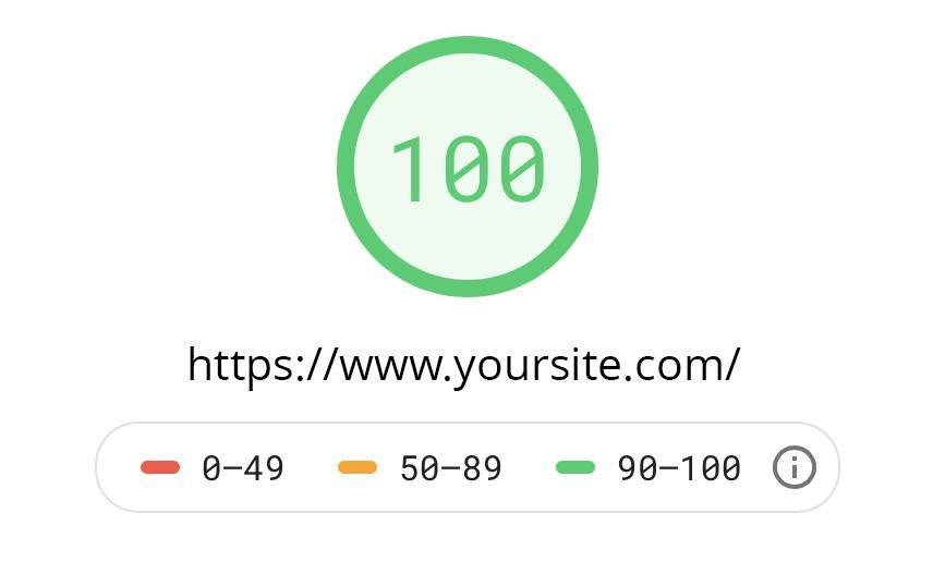 Depiction of a perfect score on Google Lighthouse test.