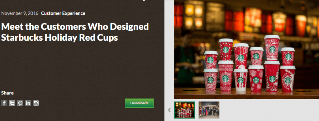 Screenshot of holiday campaign from Starbucks.