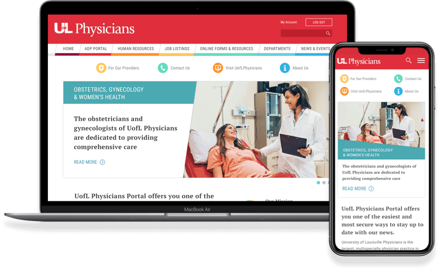 Example of an intranet developed for University of Louisville Physicians.