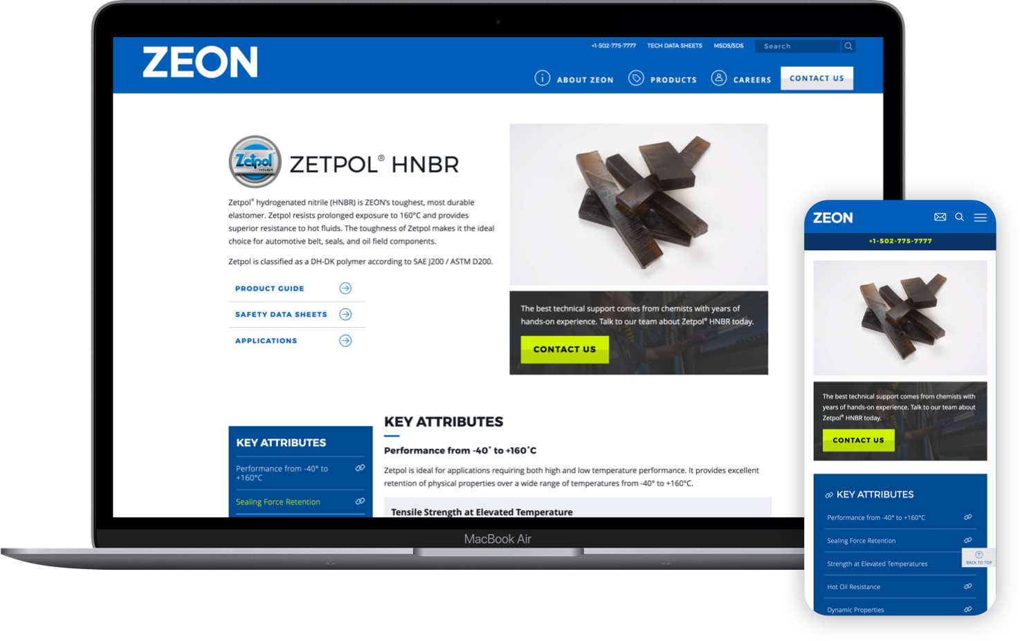 laptop and mobile device displaying the new zeon website